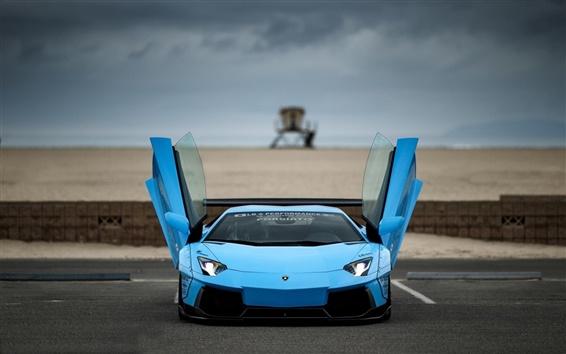 Fond d'écran Bleu supercar Lamborghini Aventador, portes ouverte