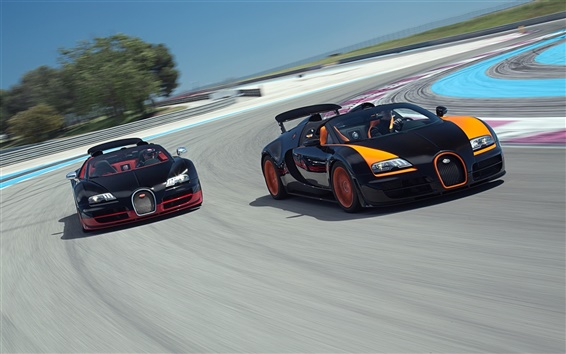 Wallpaper Bugatti Veyron supercars in race