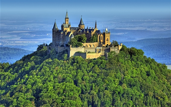 Wallpaper Castle, Hohenzollern, Germany, mountain, forest