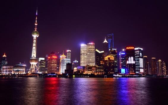 壁紙 中国、上海、夜の街、メトロポリス、ライト、高層ビル、川