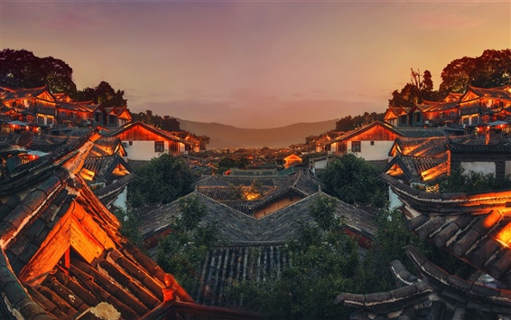 Wallpaper China, sky, mountain, old town, roof, night lights