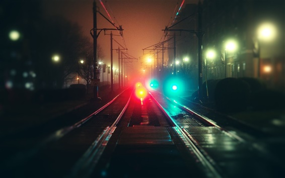Wallpaper City, night, rails, fog, bokeh, colorful lights