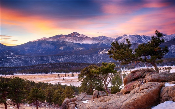 Wallpaper Colorado, Rocky Mountain National Park, mountain, forest, winter, dusk