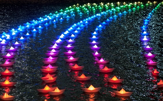 Wallpaper Colorful paper boats, rainbow color, night