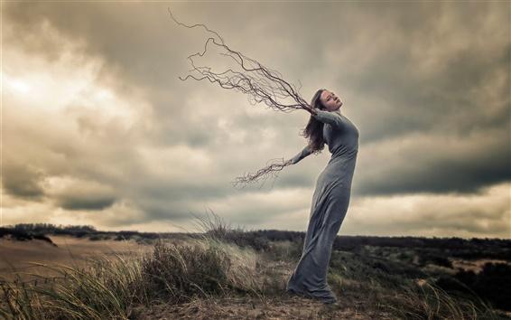 Wallpaper Creative pictures, girl, wind, hands, roots