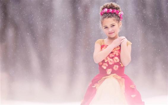 Fond d'écran Enfants mignon, robe rouge fille, neige, fleurs