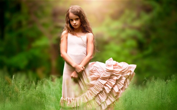Wallpaper Cute girl, child, grass, wind