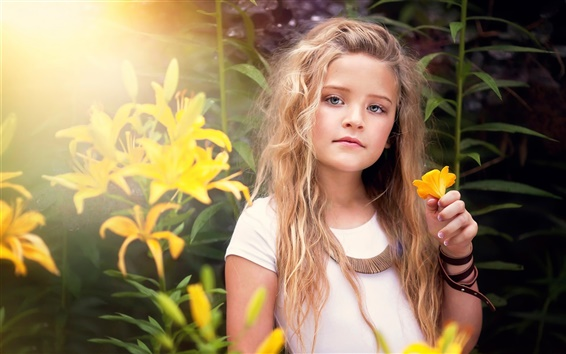 Wallpaper Cute little girl, portrait, yellow flowers