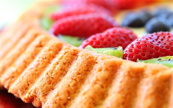 Fond d'écran Dessert, nourriture, gâteau, fraises
