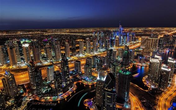 배경 화면 두바이, 야간 조명, 고층 빌딩, 도시