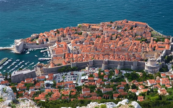 Wallpaper Dubrovnik, Croatia, Adriatic sea, coast, houses