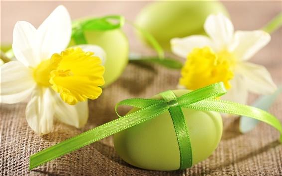 Fond d'écran Oeufs de Pâques, fleurs, jonquilles