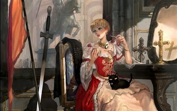 壁紙 ファンタジー少女、ジャンヌ·ダルク、交差、剣、猫