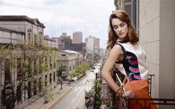 Wallpaper Fashion girl, city, balcony, clothing, house