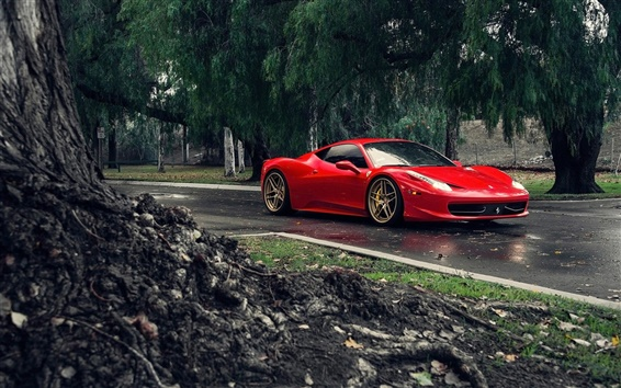 Wallpaper Ferrari 458 Italia red supercar, road