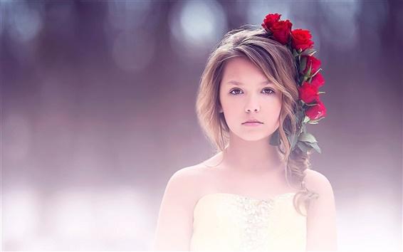 Обои Изобразительное искусство, милая девушка, портрет, красная роза