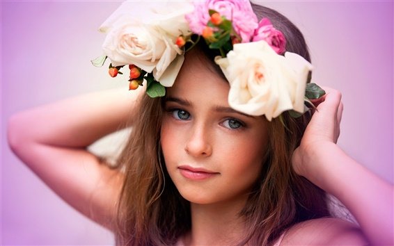 Wallpaper Flowers, girl, wreath, beautiful child