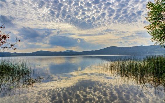 Fond d'écran Allemagne, lac, l'eau, ciel, nuages, herbe, crépuscule