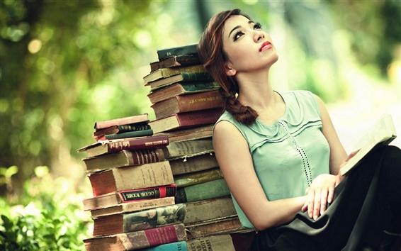 Wallpaper Girl look up, book, bokeh