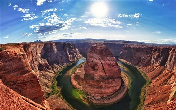 Fond d'écran Grand Canyon, Arizona, Etats-Unis, Colorado River, soleil, ciel