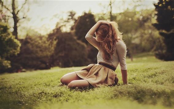 Обои Трава, девушка, весна