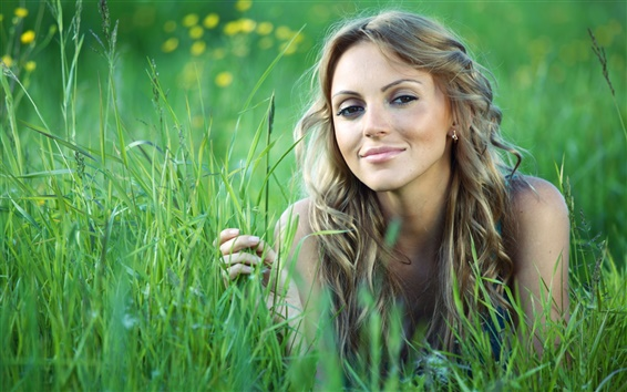 Wallpaper Grass, girl, summer