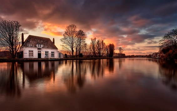 Wallpaper House, river, water reflection, dusk, Netherlands