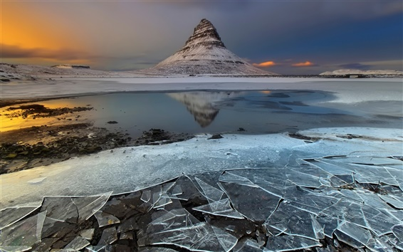 壁紙 アイスランド、山、氷、夕暮れ