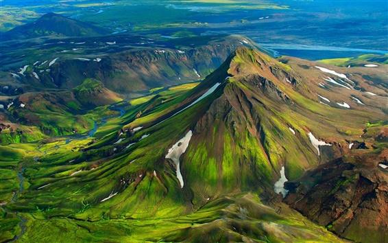 Обои Исландия, горы, холмы, зеленый