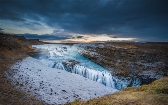 Wallpaper Iceland, river, sky, clouds, sunset, waterfall