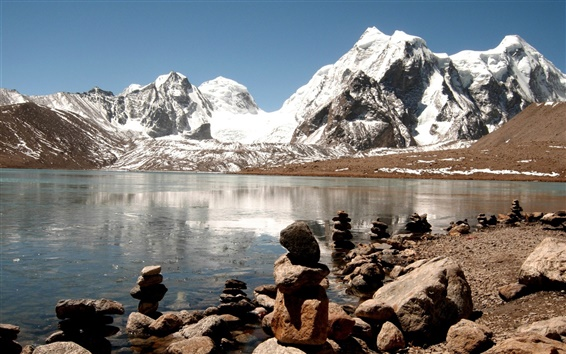 Fond d'écran Inde, Himalaya, lac, glace, roches