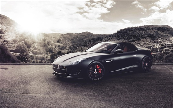 Wallpaper Jaguar F-Type V8 S black supercar