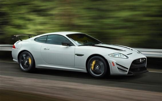 Обои Jaguar XKR-S GT белый Скорость автомобиля