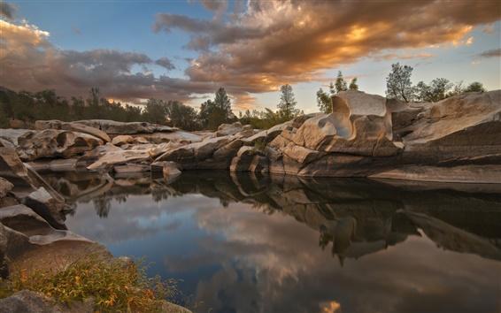 Обои Керн-Ривер-Вэлли, США, озеро Изабелла, скалы, сумерки