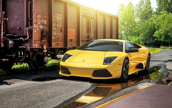 Wallpaper Lamborghini Murcielago LP640-4 yellow supercar, train