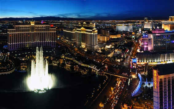 Papéis de Parede Las Vegas, EUA, cidade, edifícios, luzes da noite