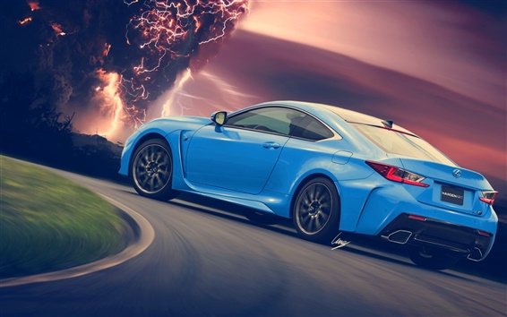 Fond d'écran Lexus RC-F supercar bleu