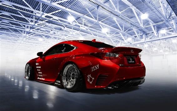 Fond d'écran Lexus RC-F voiture sport rouge vue arrière