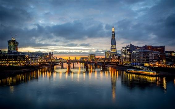 Обои Лондон, Англия, Southwark Bridge, Темза, небоскреб, свет, вечер