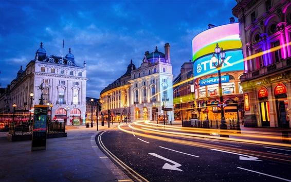 Papéis de Parede Londres, Inglaterra, cidade, rua, construção, luzes, noite