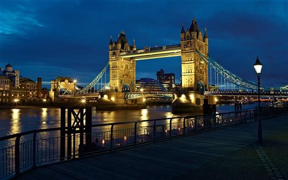 Papéis de Parede Londres, Inglaterra, cidade, o rio Tamisa, Tower Bridge, luzes