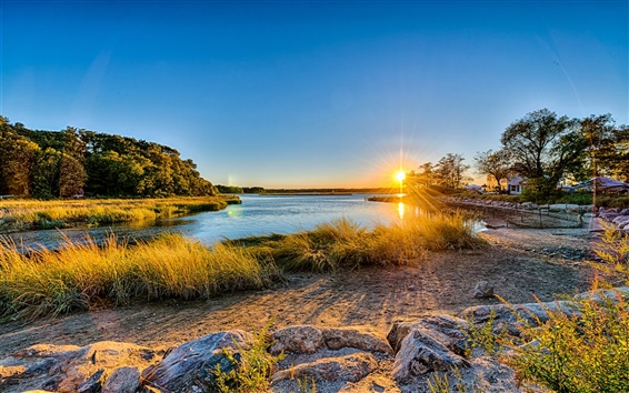 Wallpaper Long Island, New York, USA, sunset, river, trees, grass, house