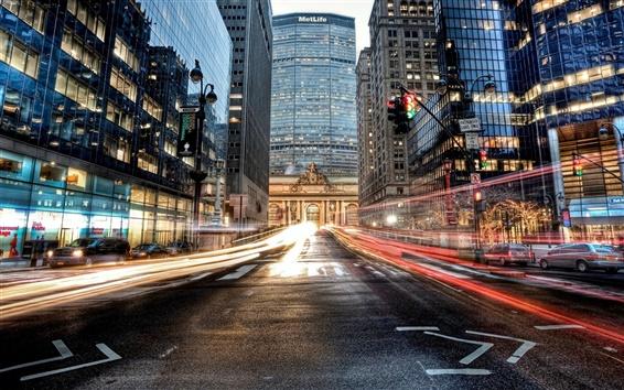 Обои Манхэттен, Нью-Йорк, США, дорога, автомобиль, небоскребы, здания, огни