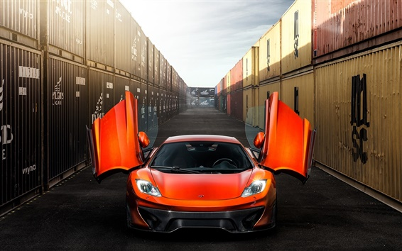 Wallpaper McLaren MP4-VX orange supercar front view, doors opened