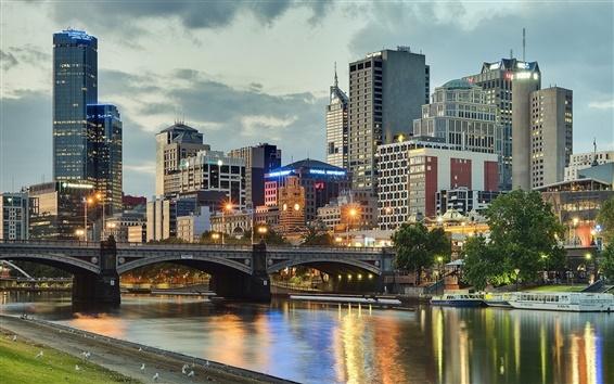 Обои Мельбурн, Австралия, город, река, мост, здания, огни