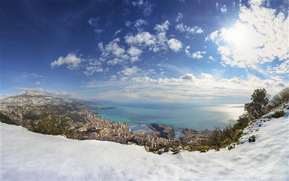 Wallpaper Monaco, winter, snow, sea, city, houses
