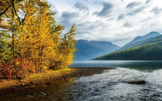 Wallpaper Mountains, sky, clouds, river, forest, trees, colorful autumn