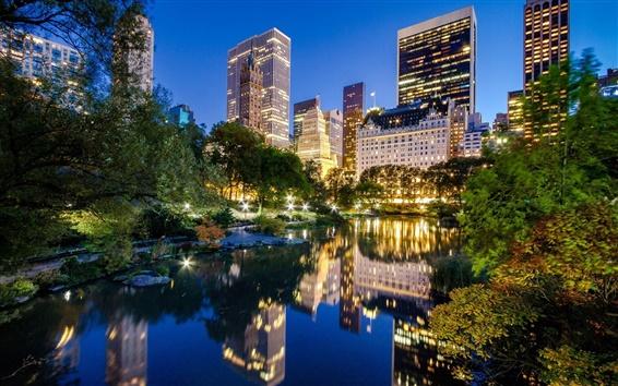 Обои Нью-Йорк, Манхэттен, Центральный парк, США, озеро, здания, ночной город