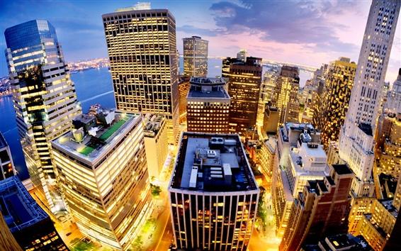 壁紙 ニューヨーク市、マンハッタン、アメリカ、都市、夜、建物、ライト