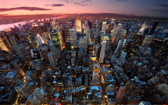 Обои Нью-Йорк, Манхэттен, США, ночь, закат, небоскребы, огни